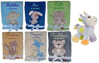 Babydecke mit Namen bestickt + Spielzeug Giraffe Geschenk BabyTaufe Geburt Decke