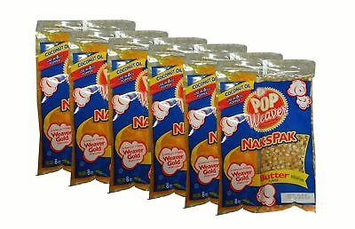6 Packs - Naks Pak 8oz Butter Flavor Coconut Oil Popcorn Packs For 6 Oz Popper