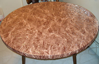 """Brown marble Elastic fitted vinyl indoor outdoor 44"""" round patio table cover"""