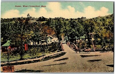 View of Town Center, West Chesterfield MA Vintage Postcard A27