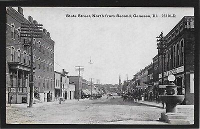 State Street North From Second Geneseo Illinois Il Postcard