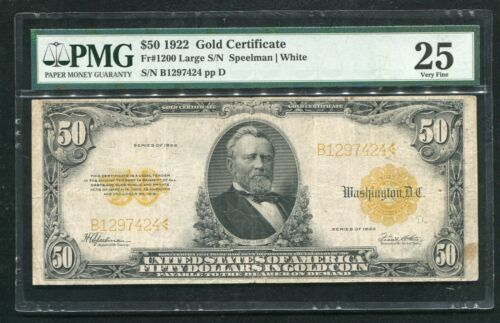 FR 1200 1922 $50 FIFTY DOLLARS GOLD CERTIFICATE CURRENCY NOTE PMG VERY FINE-25