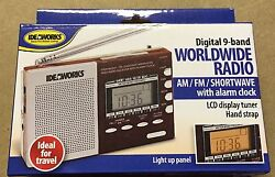 ideaworks Digital Worldwide Radio Alarm Clock AMFM Shortwave Bands Emergency Kit