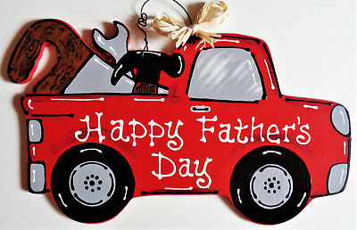 Happy Father's Day VINTAGE Style TRUCK WALL ART w/ TOOLS Sign Door Plaque Decor (Happy Sign)
