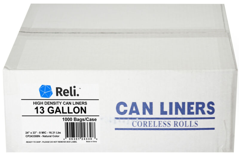 Reli. Trash Bags, 13 Gallon (Wholesale 1000 Count) (Clear) - High Density, Tall