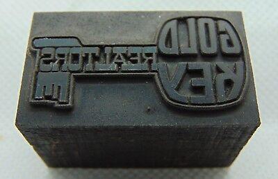 Vintage Printing Letterpress Printers Block Gold Key Realtors