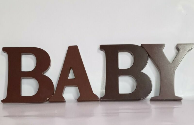 Wooden Letters Brown Spells BABY For Nursery/Home Decor Crafts Pre-Owned. (A8)
