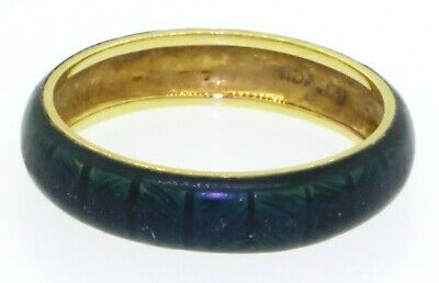 Hidalgo 18K gold beautiful Green enamel band ring size 8.25