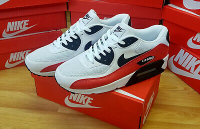 Nike Air Max 90 Premium Essential RED WHITE BLACK LEATHER MENS SHOES UK