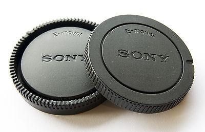 Camera Body Cap + Rear Lens Cap for Sony NEX-3N NEX-7 E-Mount SONY Logo UK STOCK