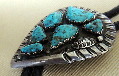 Zuni attr. Effie Calavaza Bolo Nugget Set Natural Turquoise Incised Leaf Stamped