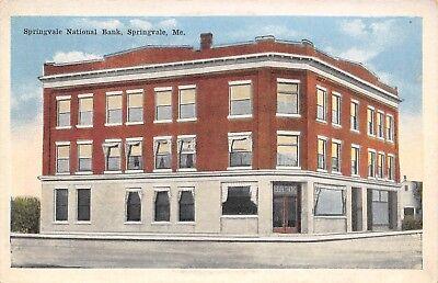 Springvale Maine~National Bank on Corner~House Next Door~1916 Postcard ()