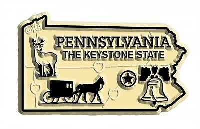 Pennsylvania the Keystone State Map Fridge Magnet