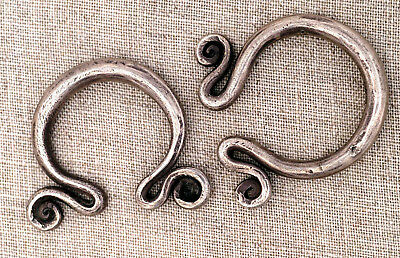 Tribal ethnic silver earrings from Hmong tribes Golden Triangle 1930's
