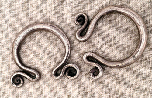 Tribal ethnic silver earrings from Hmong tribes Golden Triangle 1930