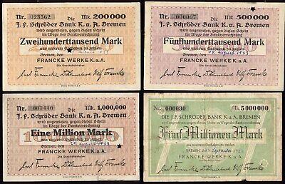 [10102] - 4 x NOTGELD BREMEN, Francke Werke KGaA, Schecks auf die J. F. Schröder