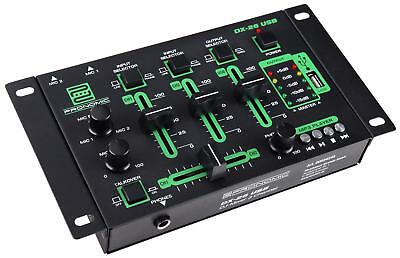 DJ PA Mixer 3/4 Kanal Party Disco Mischpult USB MP3 Player Stereo Mic in Rack