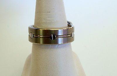 8 mm Titanium Benchmark Wedding Band Ring Silver Tone Mens Size 10 Benchmark Titanium Wedding Band