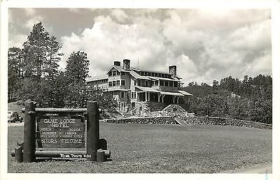 C1940 Real Photo Postcard Game Lodge Hotel Custer State Park Resort Sd Custer Co
