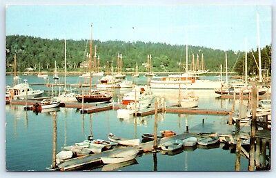 Postcard ME Northeast Harbor Windjammers Sailboats Vtg Photo G2