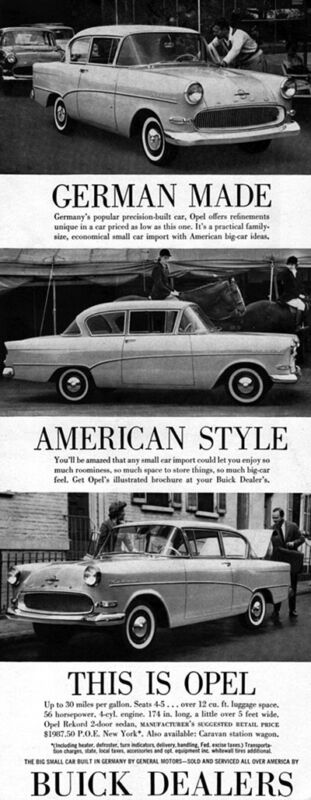 Opel Record 2-Door Rekord GERMAN CAR Available at Buick Dealers 1959 Magazine