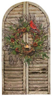 24' Led Lighted Wreath - CHRISTMAS SHUTTER TWIG WREATH CANDLE LED LIGHTED CANVAS PRINT 24 1/2