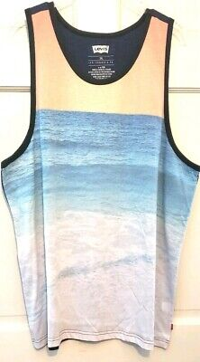 Mens Tank T-shirt Levi Beach Scene at Front Navy at Back Scoop Neck Soft NWT 2XL ()