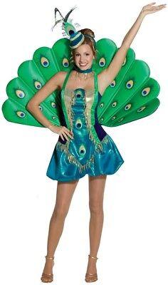 Damen Deluxe Pfau Tier Vogel Hen Karneval Kostüm Kleid Outfit