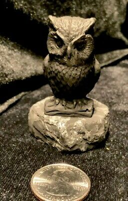 """Shungite Wise Owl Sculpture 2 1/2"""" Tall - Heals and Protects"""
