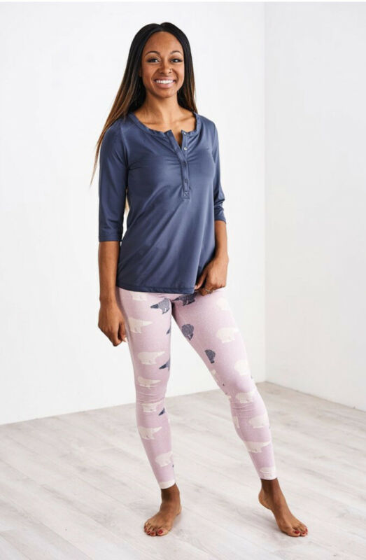Latched Mama Nursing Henley Shirt Lounge Leggings  Pajama Set Size XL $49.99