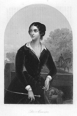 """Reiterin in Kostüm, """"Amazone"""", Original-Stahlstich von ca. 1860"""
