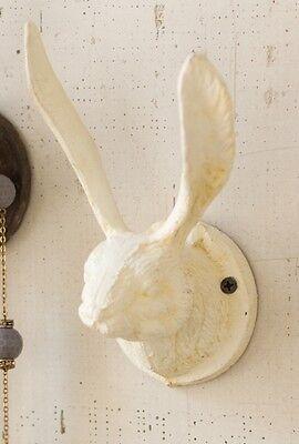 Kalalou Towel Hat Bath Rustic White Rabbit Bunny Ears Head WALL HOOK