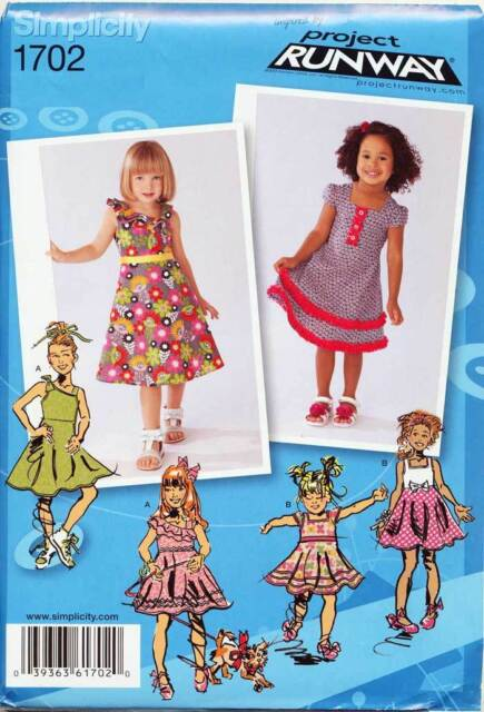 SIMPLICITY SEWING PATTERN 1702 TODDLERS ½-3 FLARED DRESS W/ ASYMMETRICAL BODICE
