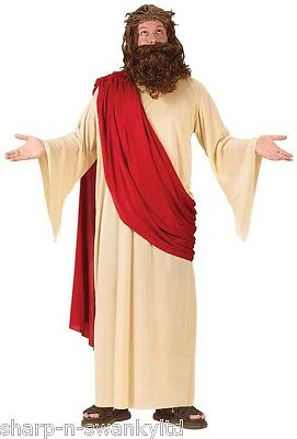 Mens Jesus Joseph Easter Christmas + Wig Religious Fancy Dress Costume Outfit