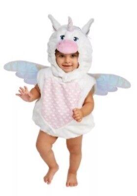 Unicorn Costume Baby Girl Halloween Size 12-18 Months White Pink Bodysuit](Girl Halloween Costumes Size 18 Months)