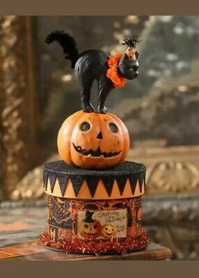 Bethany Lowe Vintage Style Halloween Black Cat On Spooky Box Brand NEW NWT