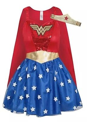 XL 20-22 Wonder Woman Outfit Fancy Dress Ladies Superhero Costume Plus Size