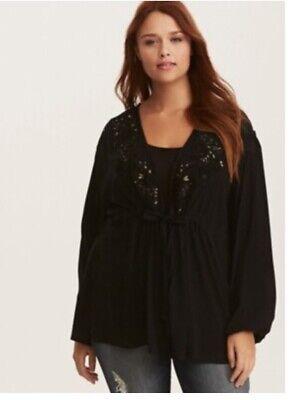 Torrid Size 1 Challis Kimono Babydoll Wrap Black With Gold Embroidery Baby Doll Kimono Top