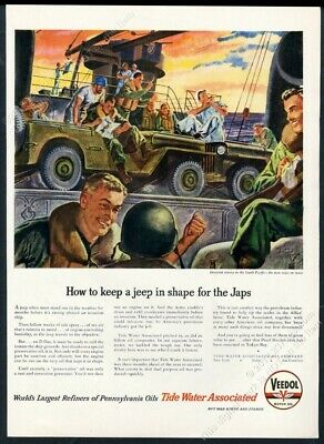 Tidewater Marine (1945 US Army Navy Marines Jeep art Tide Water Veedol oil vintage print ad)
