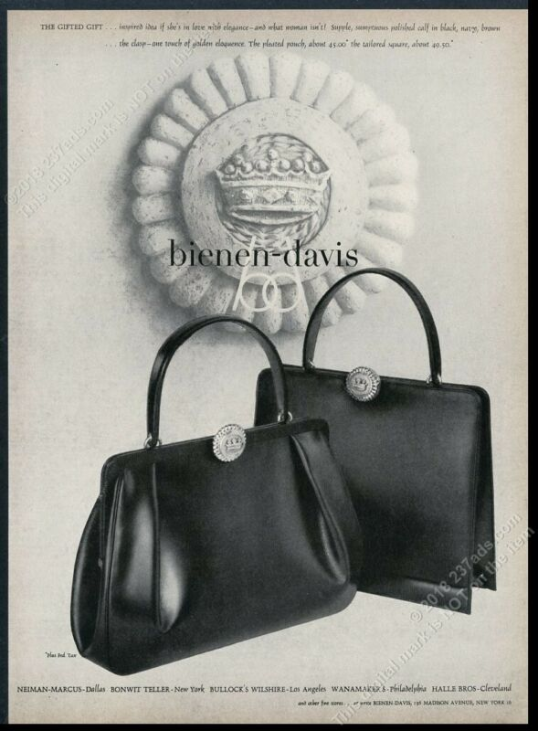 1956 Bienen Davis purse handbag hand bag 2 styles photo vintage print ad