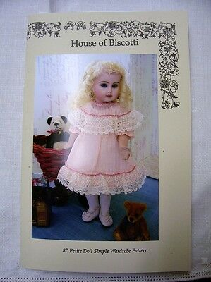 "8"" Petite Doll Simple Wardrobe PATTERN, 2 Dresses, Bonnet, Undies"