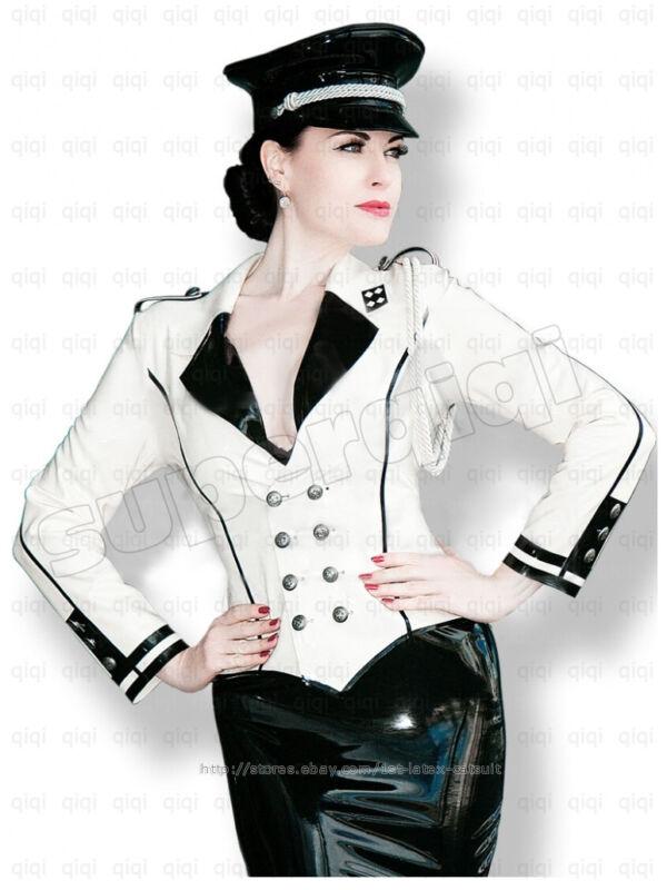 Latex/Rubber 0.45mm Military Uniform Jacket Catsuit Coat Suit