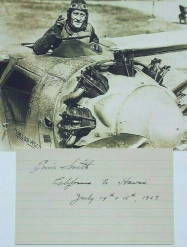 Ernie Smith Aviation Pioneer, WW I Pilot 1927 Pacific Crossing Signed Autograph