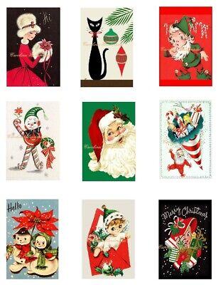 Retro Christmas A Cotton Fabric Crazy Quilt Blocks (9) @ 2X3