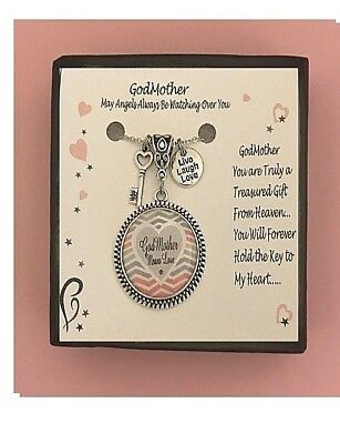 (Godmother Pink and Gray Love Heart  Gift Boxed Charm Necklace FREE SHIPPING!)