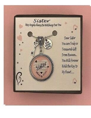 Sister Pink Love Heart  Gift Boxed Charm Necklace FREE - Pink Heart Gift
