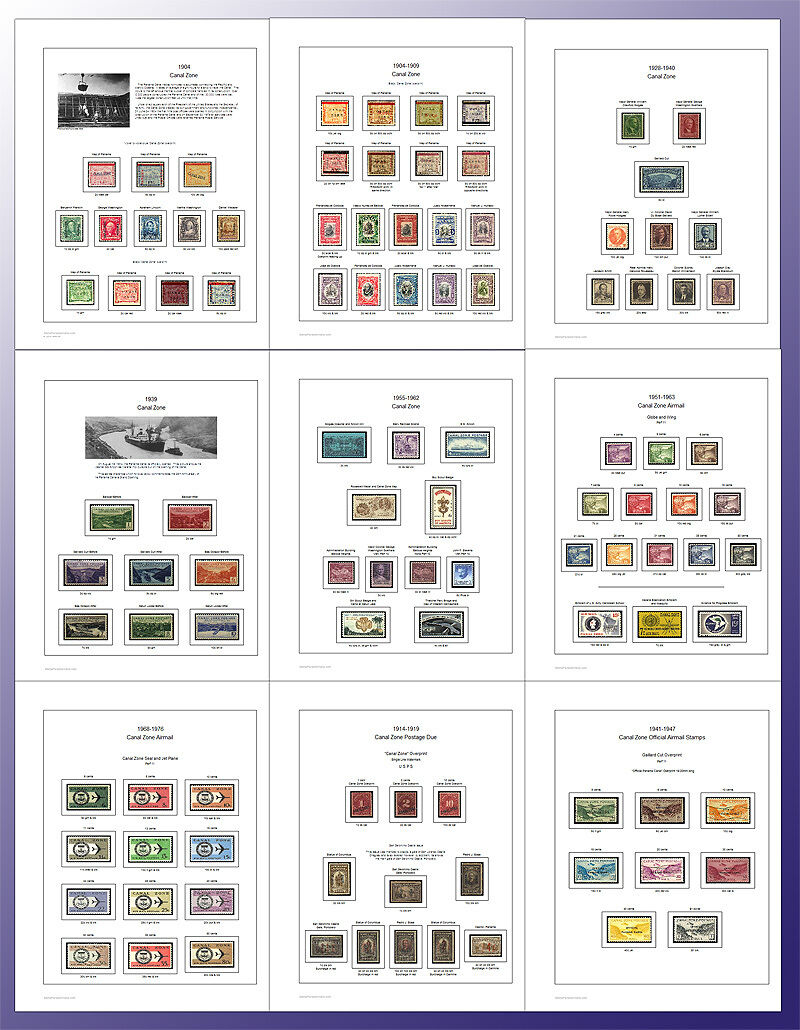 Canal Zone Stamp Album Pages Full Color (us Possessions)