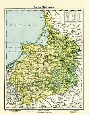 Provinz Ostpreussen Königsberg Allenstein Bezirke Karte Deutsches Reich RAHX 565