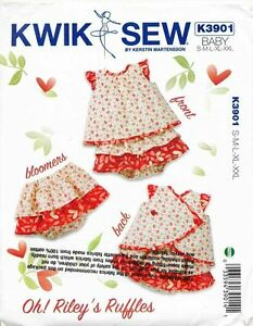 KWIK SEW SEWING PATTERN 3901 BABY/TODDLERS SZ S-XXL DRESS + RUFFLED NAPPY COVER