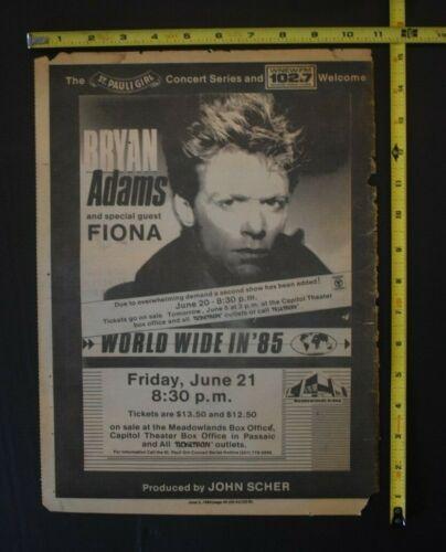 Bryan Adams 1985 Concert Ad Meadowlands NJ Fiona